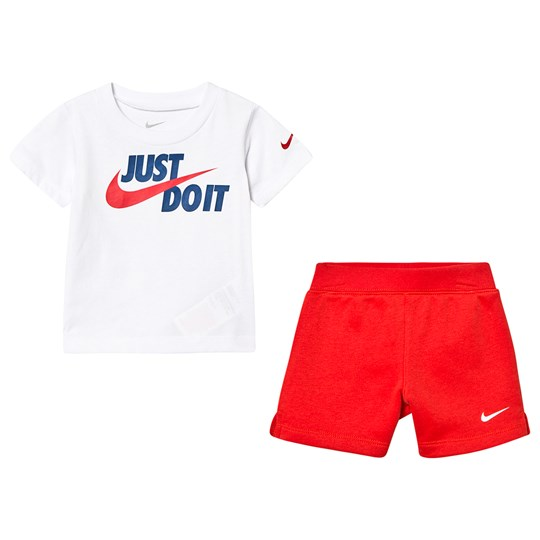NIKE White & Red Just Do It Tee & Short Set R4Y
