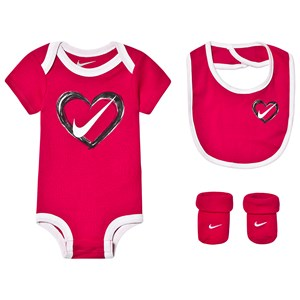 Image of NIKE 3 Piece Heart Baby Body, Bib and Socks Set Pink 0-6 months (3144401407)