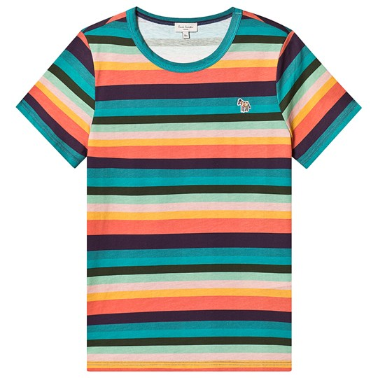 Paul Smith Junior Multicolor Artist Stripe Tee with Zebra Patch 920