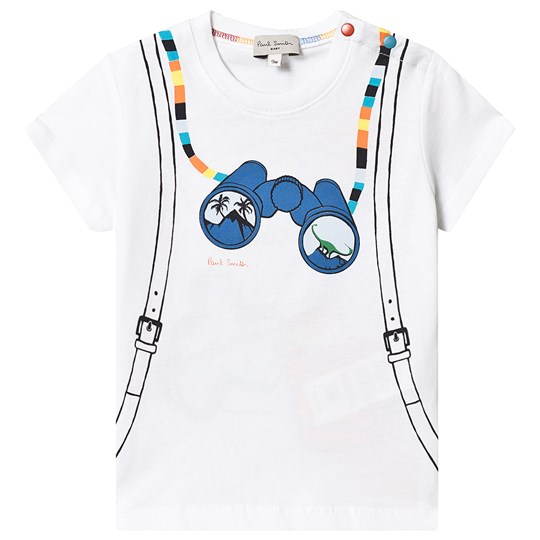 Paul Smith Junior White Front and Back Binoculars and Backpack Print Tee 01