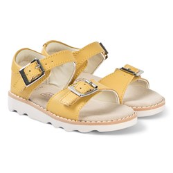Clarks Yellow Leather Crown Bloom Sandals