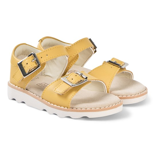Clarks Yellow Leather Crown Bloom Sandals Yellow Leather