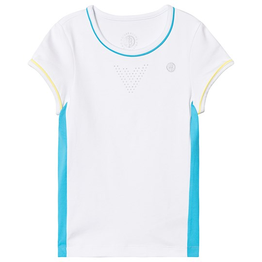 Poivre Blanc White with Blue & Lime Panel Tennis T-shirt 0186