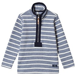 Tom Joule Blue and White Stripe Half Zip Sweatshirt