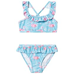 Snapper Rock Blue Flamingo Frill Bikini