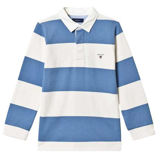 GANT Blue and White Bar Stripe Branded Rugby Top 437