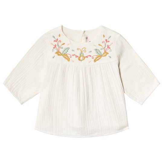 Bonpoint Cream Double Cotton Floral Embroiderd Blouse 003