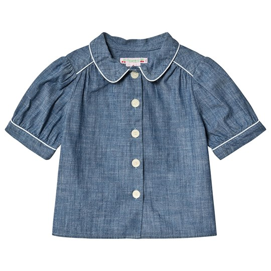 Bonpoint Blue Chambray Button Front Blouse 015