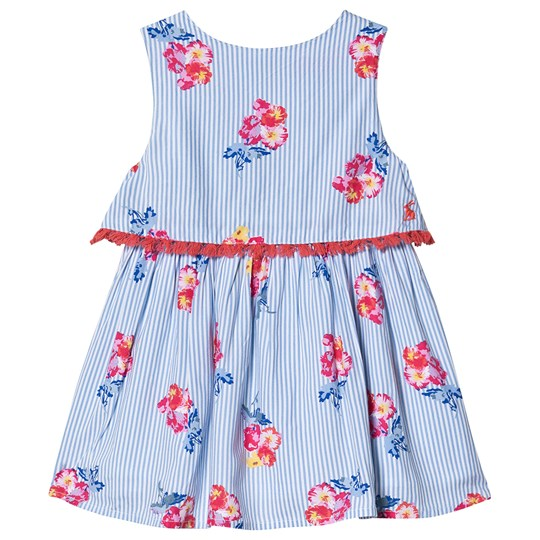 Tom Joule Blue and White Stripe Print Tiered Dress Blue Floral Stripe