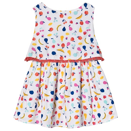 Tom Joule White All Over Fruit Print Tiered Dress White Fruit Jumble