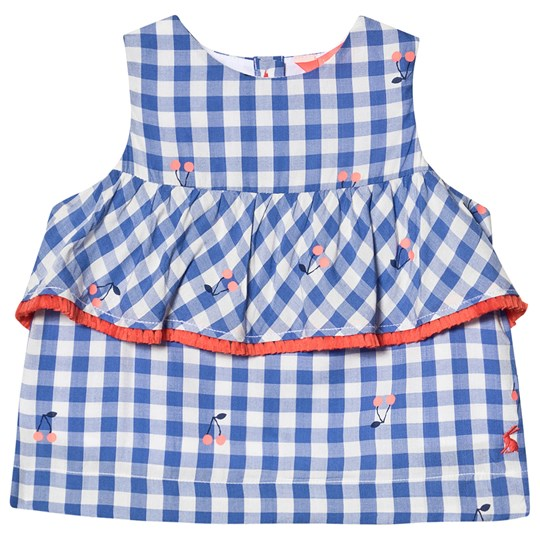 Tom Joule Blue and White Gingham Cherry Print Tiered Top Blue Cherry Gingham