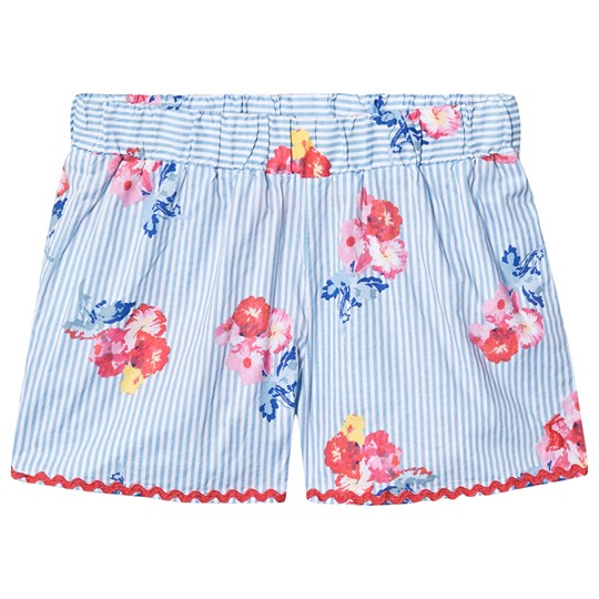 Tom Joule Blue and White Stripe Floral Print Shorts Blue Floral Stripe