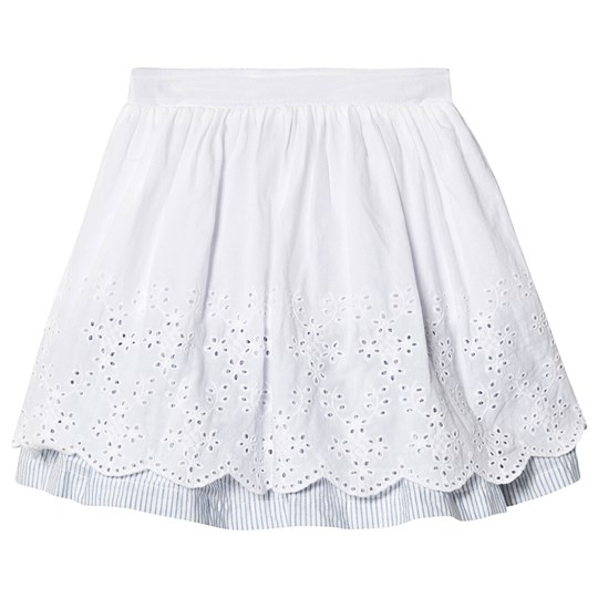 Tom Joule White Embroidery Anglais Hem Skirt With Stripe Underskirt Chalk