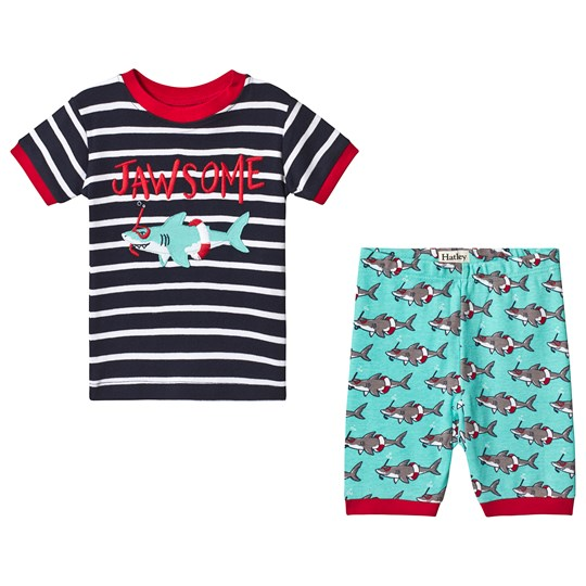 Hatley Snorkeling Sharks Applique Organic Cotton Short Pajama Set NAVY SHARK