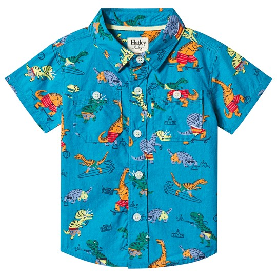 Hatley Water Gun Dinos Baby Button Down Shirt BLUE DINOS