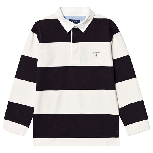 GANT Navy and White Bar Stripe Branded Rugby Top 433