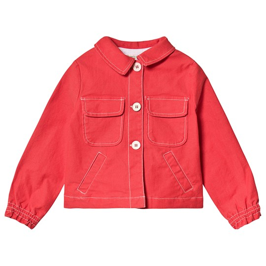 Bonpoint Red Denim Jacket with Pocket Detail 051A