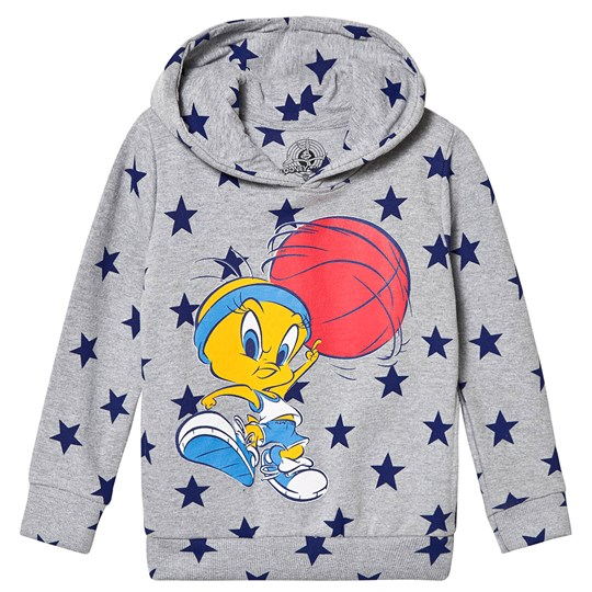 Eleven Paris Grey and Blue Star Print Tweety Pie Hoody Grey Marl