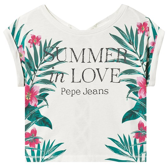 Pepe Jeans White Nixie Floral Top with Lace Back Detail 811