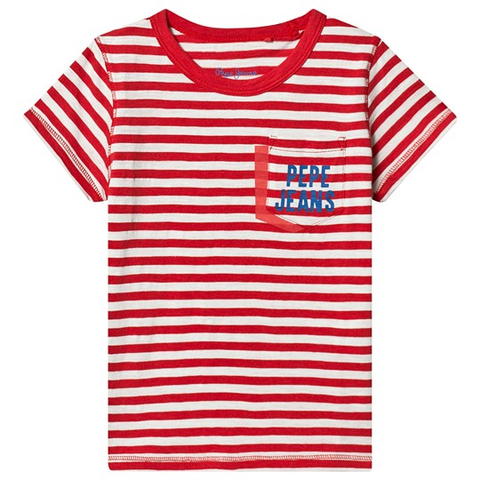 Pepe Jeans Red Stripe Branded Pocket Duke Tee 254
