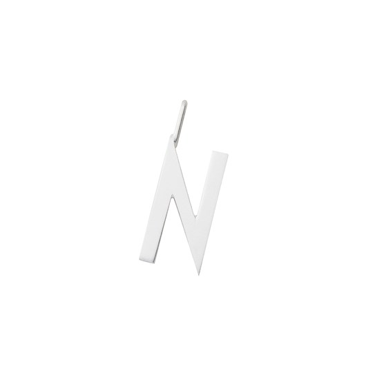 Design Letters Silver Letter Charm 16 mm - N Silver