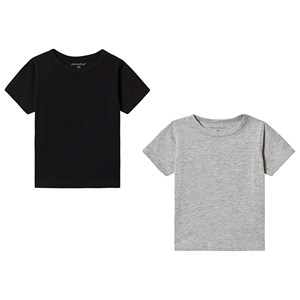 Image of Minymo 2-Pack Basic Tees Anthacite/Black 104 cm (3-4 år) (3148271397)