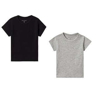 Image of Minymo 2-Pack Basic Tees Anthacite/Black 104 cm (3-4 år) (3148271419)