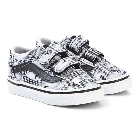 Vans Black Infants Skate Check Old Skool Velcro Trainers VIR1