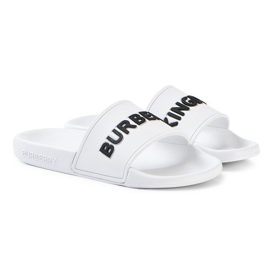 Burberry White Furley Branded Sliders A1462