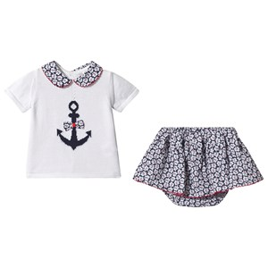 Image of Dr Kid Anchor Knit Top Bloomers Navy/White 12 months (3149052483)