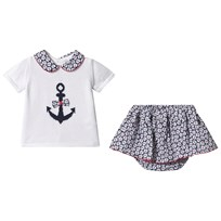 b984e48e95d3 Dr Kid Navy and White Anchor Knit Top with Floral Skirt Bloomers 296