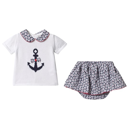 Dr Kid Navy and White Anchor Knit Top with Floral Skirt Bloomers 296