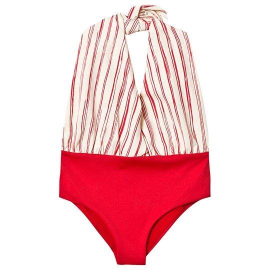 17245ceabf Little Creative Factory Red and White Stripe Bamboo Wrap Swimsuit SCARLET