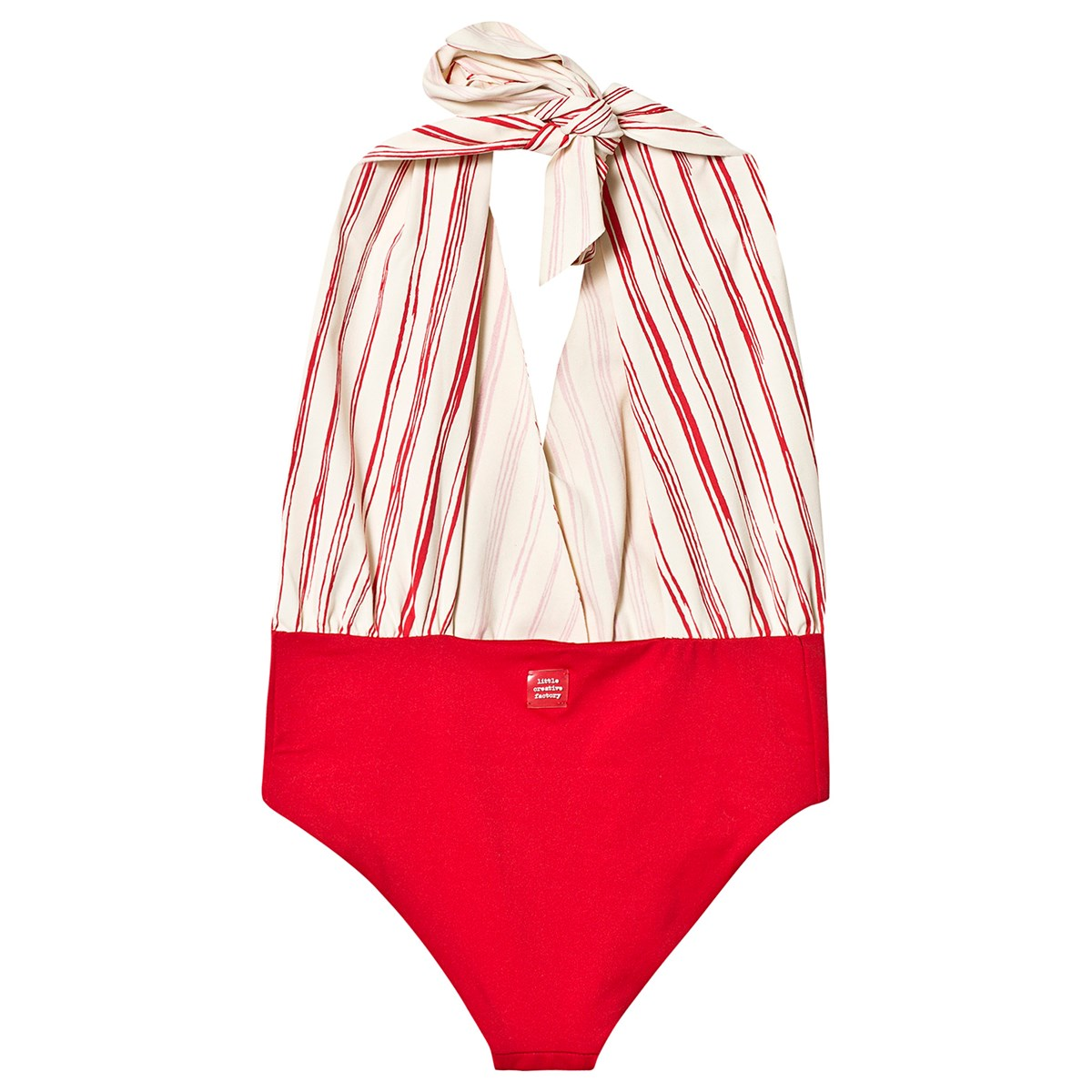 98a36a37d7 Little Creative Factory - Red and White Stripe Bamboo Wrap Swimsuit ...