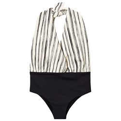 Little Creative Factory Black and White Stripe Bamboo Wrap Swimsuit