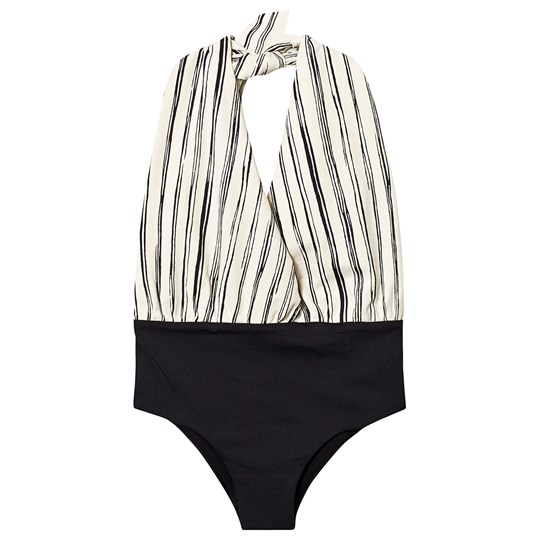Little Creative Factory Black and White Stripe Bamboo Wrap Swimsuit Black