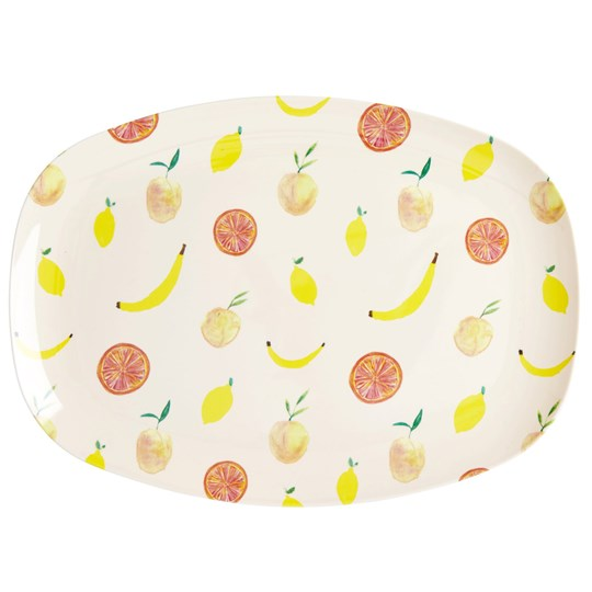 Rice Large Rectangular Melamine Plate Happy Fruits Print cream-yellow-apricot