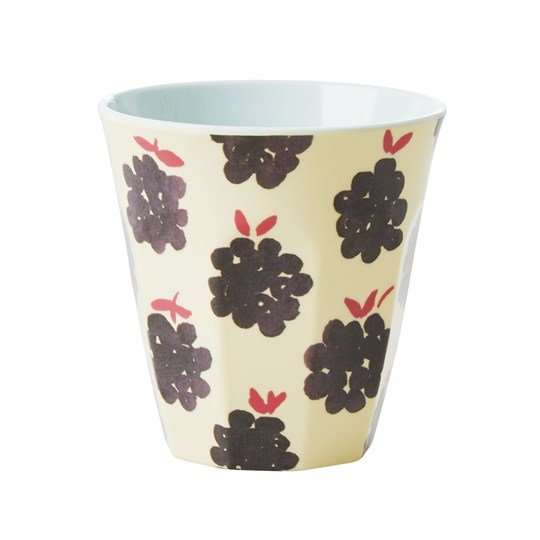 Rice Medium Melamine Cup Blackberry Print cream-black