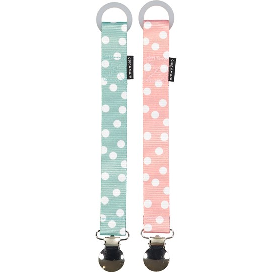 Geggamoja 2-Pack Pacifier Holder Pink Dot Pink Dot