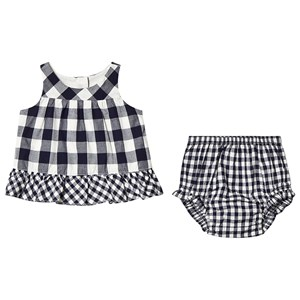 Image of GAP Gingham Dress & Bloomers Navy 0-3 mdr (3149053019)