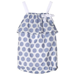 Image of Absorba Blue and White Woven Spot Romper 3 months (2962704567)