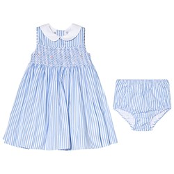 Ralph Lauren Stripe Smocked Dress with Rose Embroidery Blue