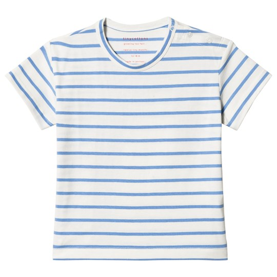 Tinycottons Small Stripes Tee Off-White/Cerulean Blue off-white/cerulean blue