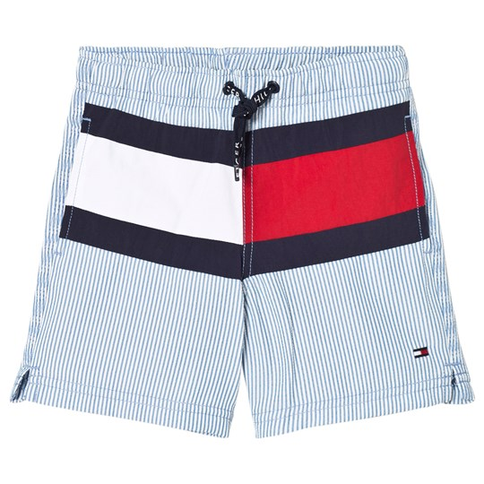 Tommy Hilfiger Pale Blue Seersucker Flag Swim Shorts 986