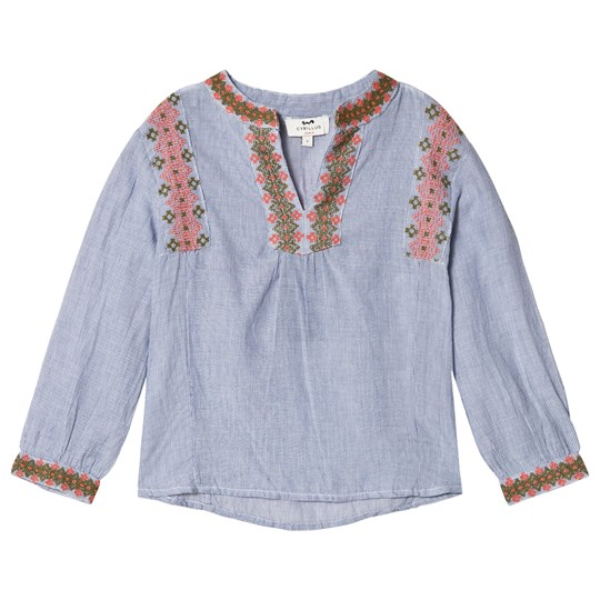 Cyrillus Blue and White Embroidered Blouse 6389