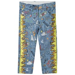 Stella McCartney Kids Blue Denim Jeans with Yellow Flame Print