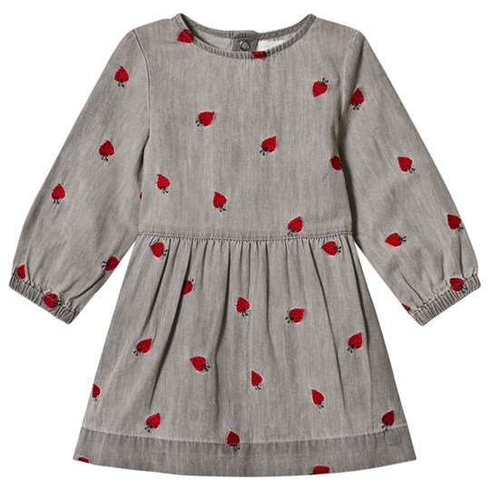 Stella McCartney Kids Grey Skippy Baby Dress with Embroidered Lady Bugs 1263 - Lady Bugs Embro