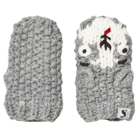 Tom Joule Grey Chummy Dog Knitted Baby Mittens dog