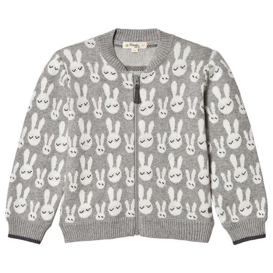 The Bonnie Mob Jones Bunny Jacquard Cardigan Grey Black