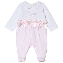 Mintini Baby White and Pink Love Footed Baby Body